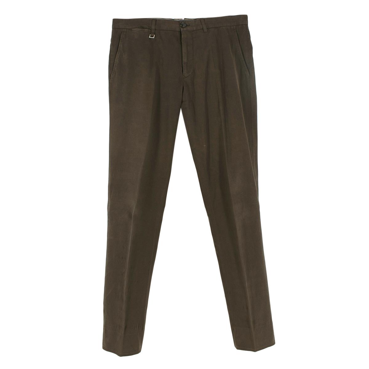 Ermenegildo Zegna Dark Brown Cotton Blend Trousers