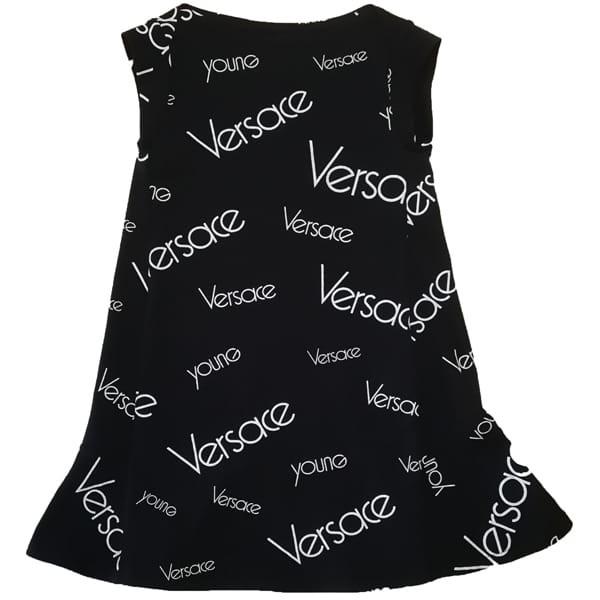 Young Versace Kids 12Y Logo Print Black Swing Dress