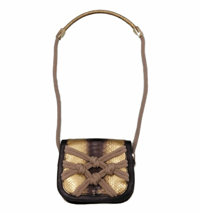 Jimmy Choo Black & Gold Python Rope Woven Crossbody Bag