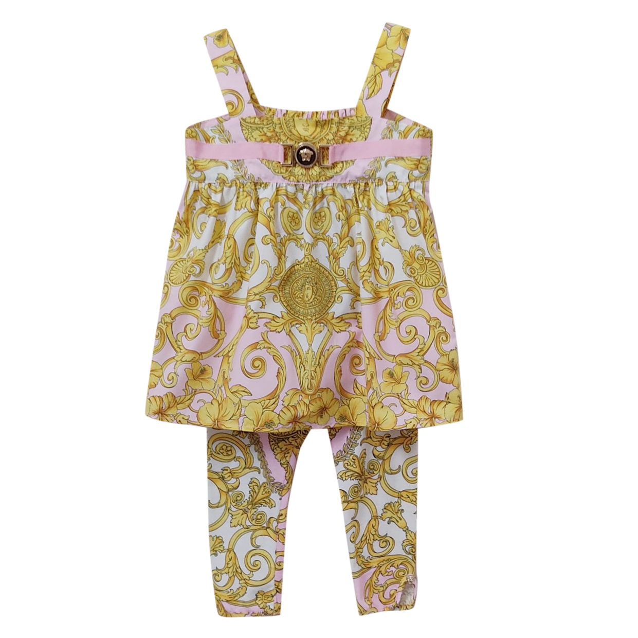 Young Versace Kids 24M Medusa Pink & Gold Top & Trousers