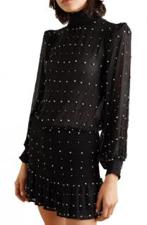 Retrofete Hedy Crystal-Embellished Silk-Georgette Mini Dress