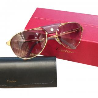 Cartier Bugundy/Gold Santos Dupont Sunglasses