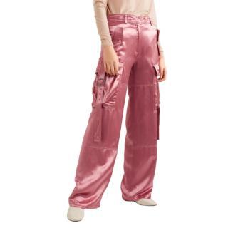 Sies Marjan Pastel Pink Satin Cargo Trousers