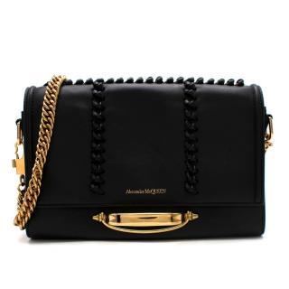 Alexander McQueen Black Leather Knot Stitch Shoulder Bag