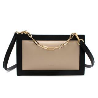 The Sant Beige & Black Leather Shoulder Bag
