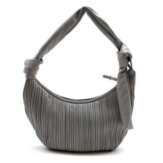 Neous Grey Leather Neptune Pleated Hobo Bag