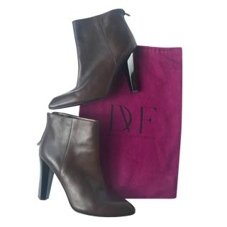 DVF Brown Leather Heeled Ankle Boots