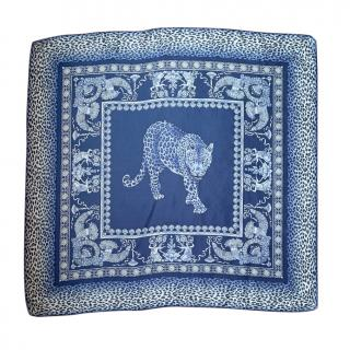 Versace Blue Vintage Leopard Print SIlk Scarf
