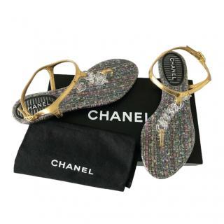 Chanel CC Tweed Print/Gold Thong Sandals