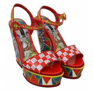 Dolce & Gabbana Caretto Print Wedge Sandals