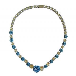Prada Blue & Silver Floral Crystal Runway Necklace