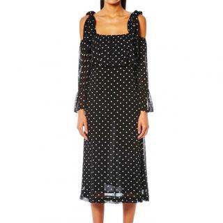 Ganni Black & White Polka Dot Cold Shoulder Dress