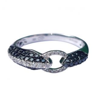 Bespoke 18ct White Gold Black & White Diamond Buckle Ring
