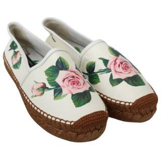 Dolce & Gabbana Rose Print White Espadrilles