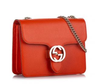 Gucci Interlocking G Red Leather Crossbody Bag