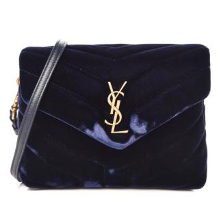 Saint Laurent Navy Blue Velvet Toy Loulou Shoulder Bag
