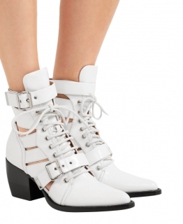 Chloe White Leather Rylee Cut-Out Ankle Boots