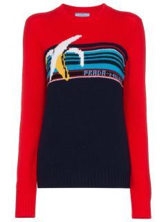 Prada Banana motif virgin wool crew neck jumper