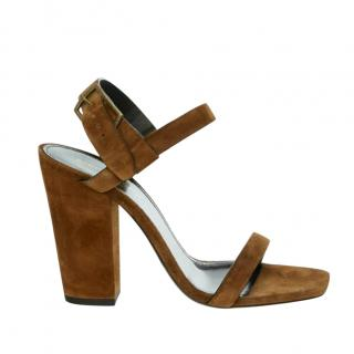 Saint Laurent  cognac brown suede Oak 100 sandals