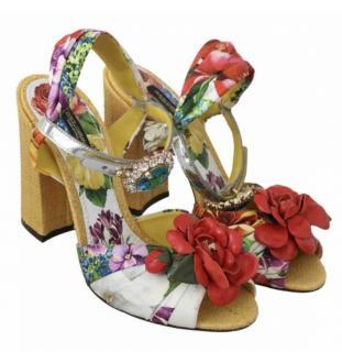 Dolce & Gabbana Crystal Embellished Floral Sandals