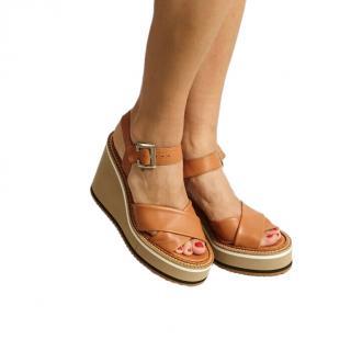 Robert Clergerie Tan Noemie Wedge Sandals