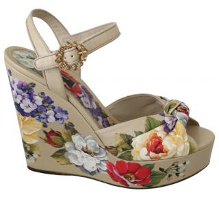 Dolce & Gabbana Knotted Floral Wedges