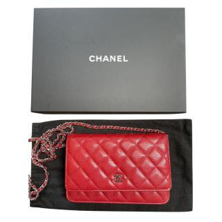 Chanel Red Quilted Leather Wallet on Chain