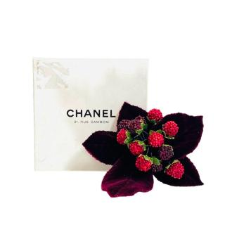 Chanel Vintage 80's Berry Embellished Brooch