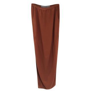 Rick Owens Cinnamon Brown Tapered Skirt