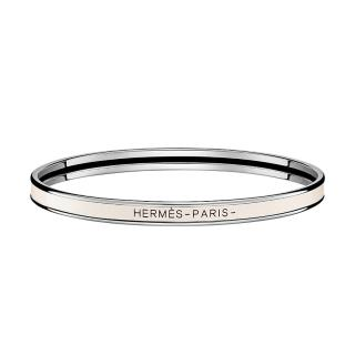 Hermes Craie Enamel Uni Bangle PHW - Size 65