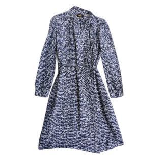 APC x Vanessa Seward Blue Printed Pussybow Dress