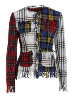 Moschino Couture Distressed Contrast Tartan Jacket