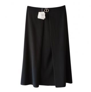 Hermes Black Silk Chaine D�Ancre Jupe Midi Skirt