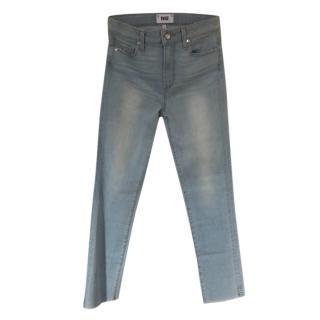 Paige Light Wash Frayed Stretch Jeans