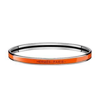 Hermes Orange Enamel Uni Bangle PHW