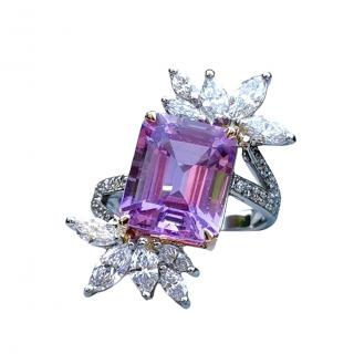 Alexander Fisher Bespoke Platinum Set Amethyst & Diamond Cocktail Ring