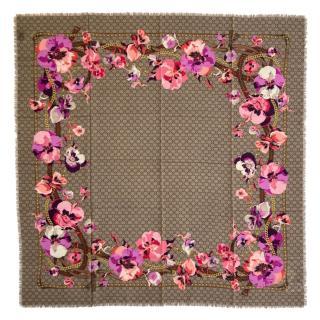 Gucci Wool Supreme Obishana Flowers Scarf 140cm