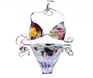 Dolce & Gabbana White Floral Print Halterneck Bikini
