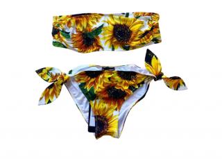 Dolce & Gabbana Sunflower Print Bandeau Bikini