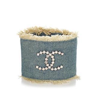 Chanel Fringed Denim Crystal CC Zip Cuff