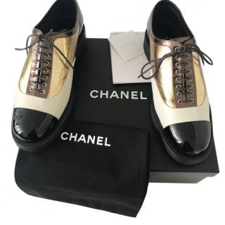 Chanel Black, Cream & Gold Leather Derby Brogues