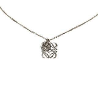 Loewe Silver Tone Anagram Pendant Necklace