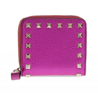 Valentino Metallic Pink Grained Leather Rockstud Compact Wallet
