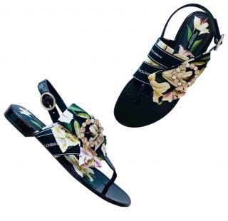 Dolce & Gabbana Lily Print Logo Crystal Sandals