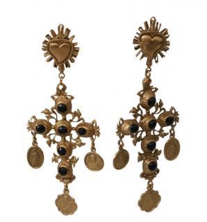 Dolce & Gabbana Gold Tone Sacred Heart Cross Earrings