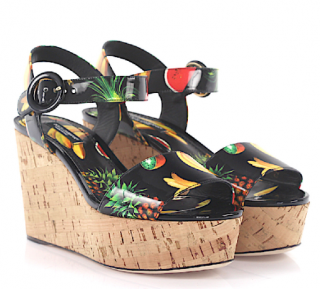 Dolce & Gabbana Patent Tropical Fruit Print Wedge Sandals