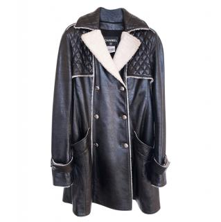 Chanel Black/Ecru Quilted Leather Coat with Faux Fur Trim