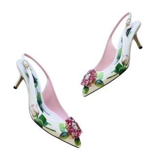 Dolce & Gabbana Floral Print White Crystal Slingbacks