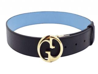 Gucci Blue Grained Leather 1973 GG Belt - Size 70