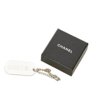 Chanel Silver Tone Logo Tag Key Chain